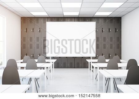 Contemporary grey classroom interior with empty whiteboard desks and chairs. Mock up 3D Rendering. School concept