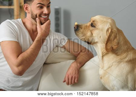 excited guy teaching his puppy at home to balance a treat on its nose