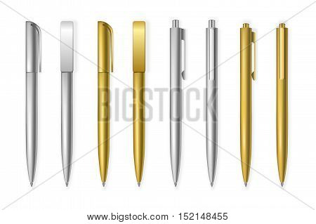 Set of vector pens. Corporate identity and branding stationery mockup templates, isolated on a white background. Vector EPS10 illustration.