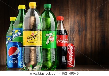 POZNAN POLAND - OCT 13 2016: Global soft drink market is dominated by brands of few multinational companies founded in North America. Among them are Pepsico Coca Cola and Dr. Pepper Snapple Group
