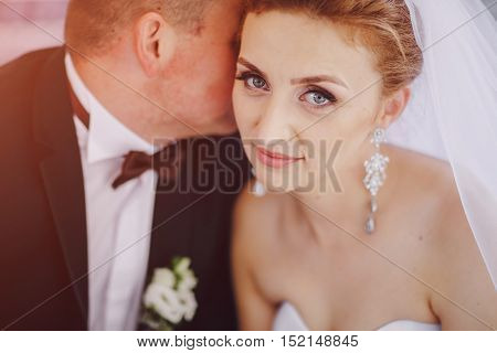 beautiful blonde couple celebrate their  wedding day