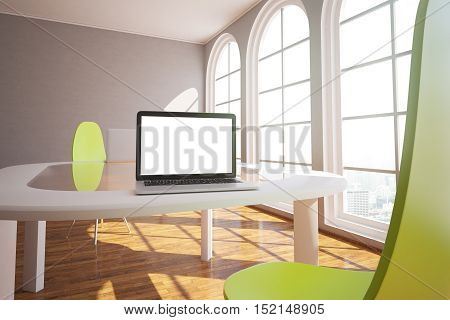 Modern interior with blank white laptop on large table bright green chairs and windows with city view. Mock up 3D Rendering