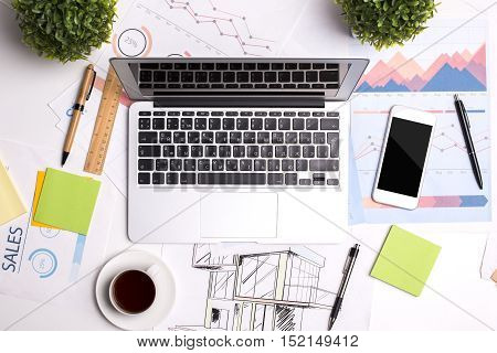 Office Desktop With Technology