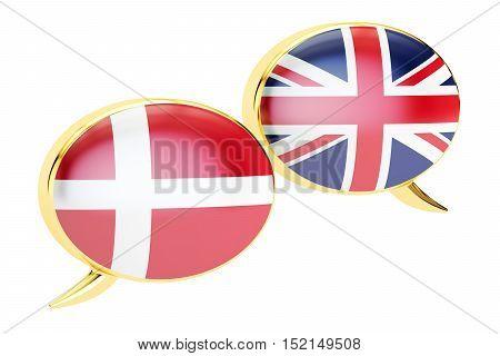 Speech bubbles Danish-English conversation concept. 3D rendering