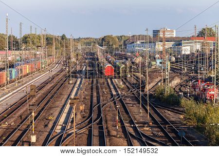 HANNOVER / GERMANY - OCTOBER 16 2016: freight trains stands on the freight yard hannover / germany at october 16 2016