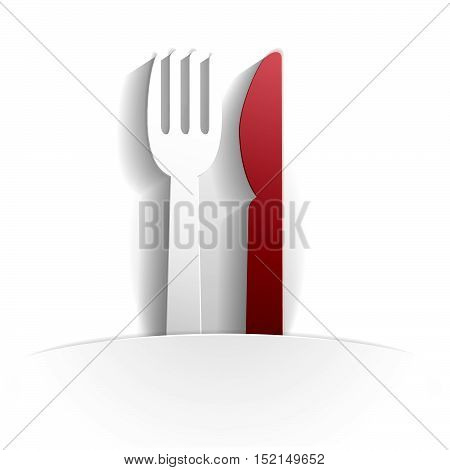 cutlery icon in paper style full vector