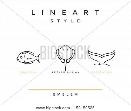 Fish emblem in linear style. Fish Seafood Elegant emblem design illustration. Fish icon, Seafood logo decorations design element