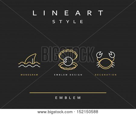 Crab, pearl, and fin emblem in linear style. Seafood Elegant emblem design illustration. Marine life icon , Seafood logo decorations design element