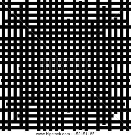 Asymmetric Grid Mesh Pattern. Irregular Monochrome Abstract Texture