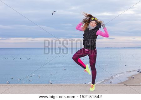 Happy Fit Fitness Woman Outdoor.