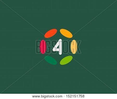 Color number 4 logo icon vector design. Hub frame numeral logotype