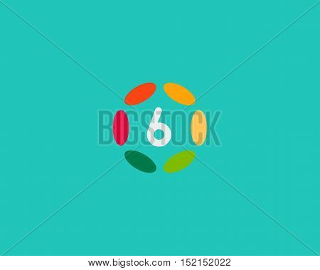 Color number 6 logo icon vector design. Hub frame numeral logotype