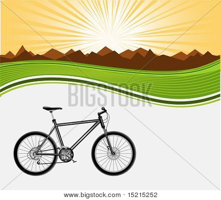 black bicycle on background
