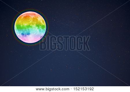 Full moon in the night starry sky background copy space. Full moon and stars.