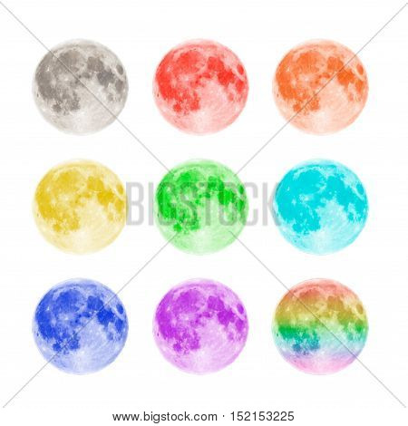 Multicolored full moons isolated on white background. Tolerance concept.