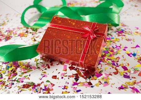 Gift box decoration for seasonal holidays concept background