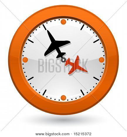 Uhr mit dem Flugzeug-Pfeile