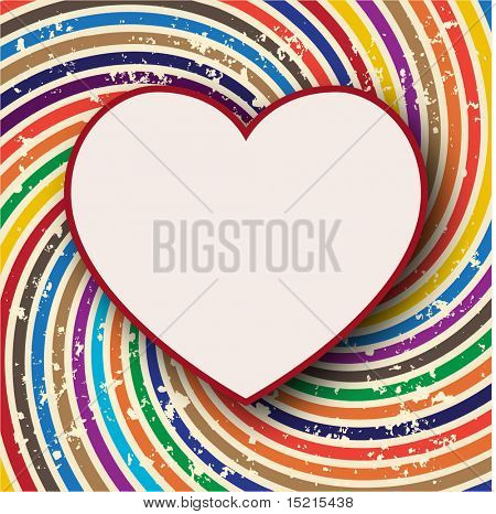 retro background with heart shape card