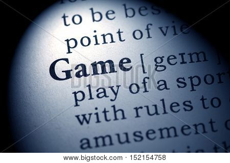 Fake Dictionary Dictionary definition of the word game.