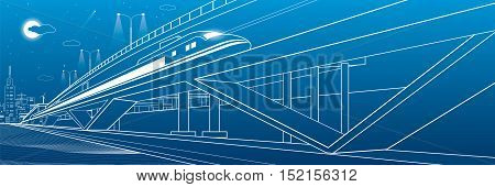 Train moves on the bridge, night city and overpass, industrial and transportation illustration, white lines landscape, night town, vector design art
