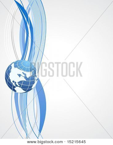 blue background with globe