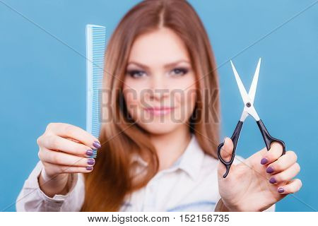 Female Hairdresser Presenting Tools.