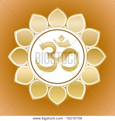 gold om symbol on flower