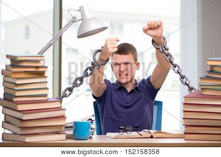 Young student forced to study tied