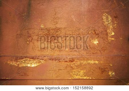Iron old sheet with cracked paint