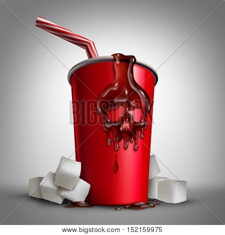 Soda sugar risk as a cup with cola inside as a drop of liquid shaped as a skull as a metaphor for the health issues of drinking sweet drinks with 3D illustration elements.