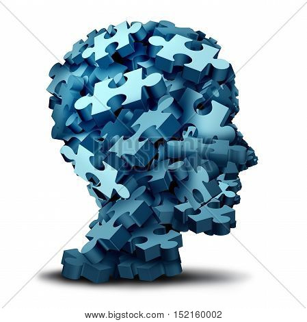 Psychology puzzle concept as a a group of 3D illustration jigsaw pieces shaped as a human head as a mental health symbol for psychiatry or psychology and brain disorder icon on a white backbround.