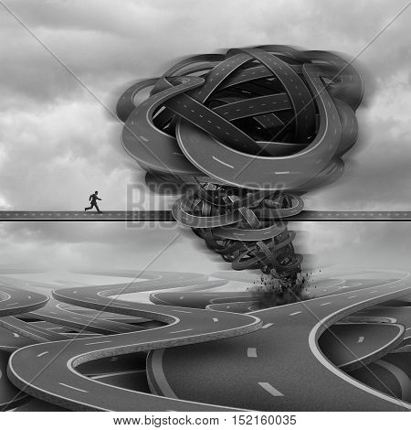 Overcoming challenges business concept as a businessman trying to cross a path with a tornado obstacle made of roads in his way as a crisis and courage metaphor with 3D illustration elements.