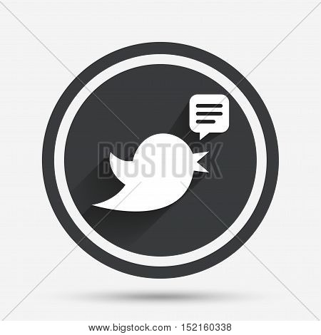 Bird icon. Social media sign. Speech bubble chat symbol. Circle flat button with shadow and border. Vector