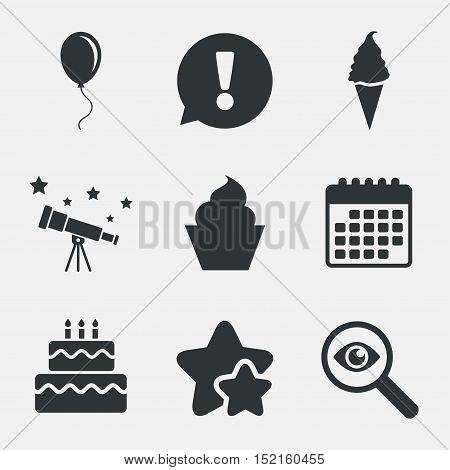Birthday party icons. Cake with ice cream signs. Air balloon with rope symbol. Attention, investigate and stars icons. Telescope and calendar signs. Vector
