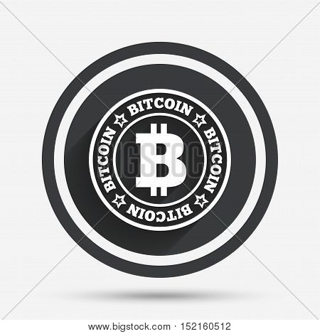 Bitcoin sign icon. Cryptography currency symbol. P2P. Circle flat button with shadow and border. Vector