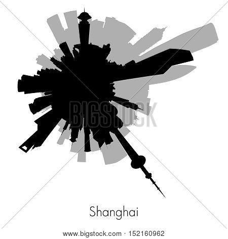 Shanghai Planet circular skyline silhouette. Vector illustration