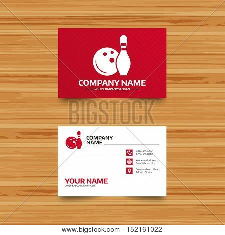 Business card template. Bowling game sign icon. Ball with pin skittle symbol. Phone, globe and pointer icons. Visiting card design. Vector