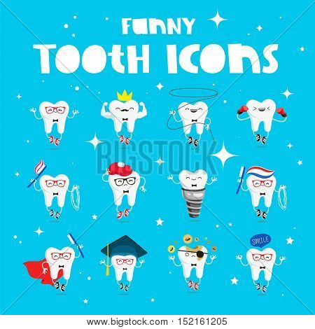 Set of funny icons of teeth. Vector illustration on a blue background. Concept of children's dentistry. Excellent dental card. Cute character. Caries prevention.