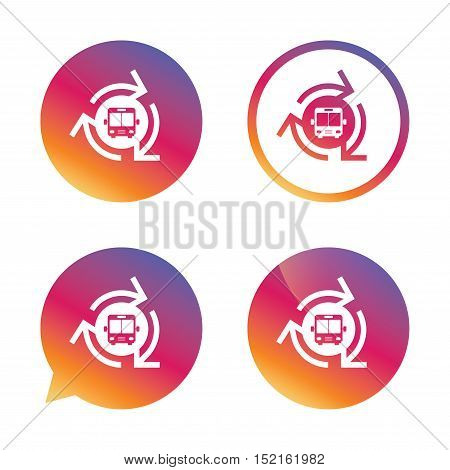 Bus shuttle icon. Public transport stop symbol. Gradient buttons with flat icon. Speech bubble sign. Vector