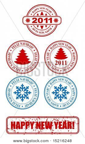 vector stamp - new year