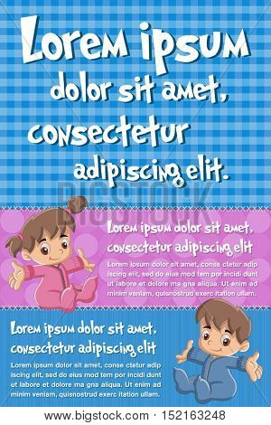 Vector brochure backgrounds with cartoon baby toddlers. Infographic template design.