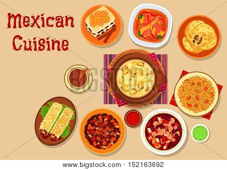 Mexican cuisine restaurant menu icon with bean burrito, meat pie empanadas, bean stew with minced beef, vegetable chilli stew, stuffed peppers, tomato rice, potato stew with cheese, bread pudding