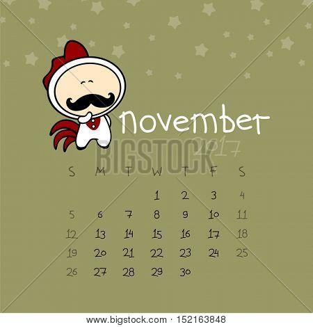 Calendar for the year 2017 - November