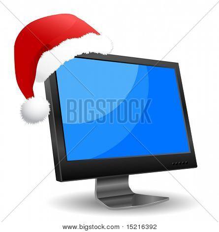 monitor icon and santa hat