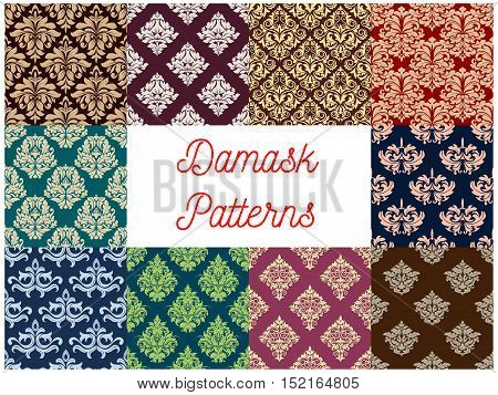 Damask seamless patterns with set of arabesque floral ornament with stylized flower and composition of leaves. Fabric print, wallpaper and interior textile design