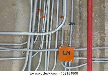 Metal pipes electrical distribution system installation .