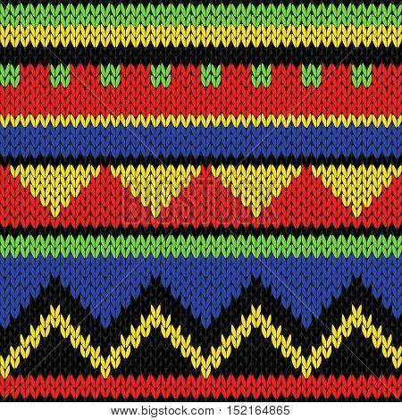 Seamless Knitting Geometrical Colourful Bright Pattern