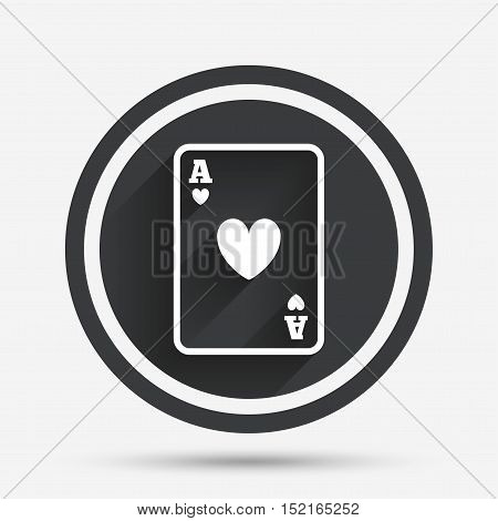 Casino sign icon. Playing card symbol. Ace of hearts. Circle flat button with shadow and border. Vector