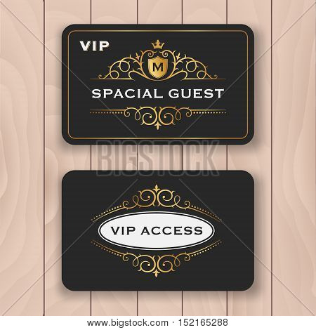 VIP access card with golden flourish frame. Special guest tag card design with dark and luxury ornament. Premium personal name card template for your business. Vector illustration
