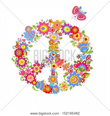 Peace flower symbol with funny colorful flowers